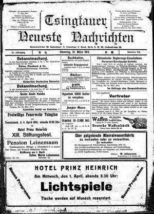 Tsingtauer neueste Nachrichten vom 31.03.1914