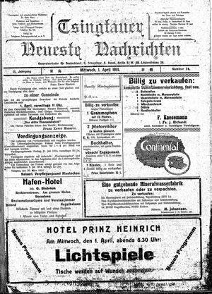 Tsingtauer neueste Nachrichten vom 01.04.1914