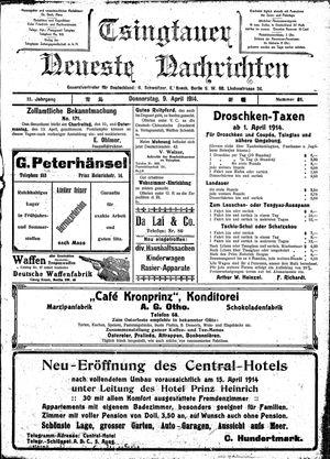 Tsingtauer neueste Nachrichten on Apr 9, 1914
