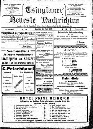 Tsingtauer neueste Nachrichten vom 12.04.1914