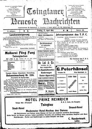 Tsingtauer neueste Nachrichten vom 17.04.1914