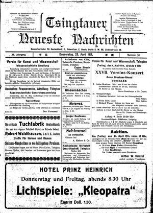 Tsingtauer neueste Nachrichten vom 23.04.1914