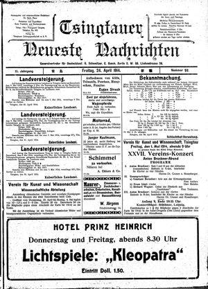 Tsingtauer neueste Nachrichten vom 24.04.1914