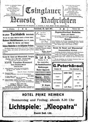 Tsingtauer neueste Nachrichten vom 25.04.1914