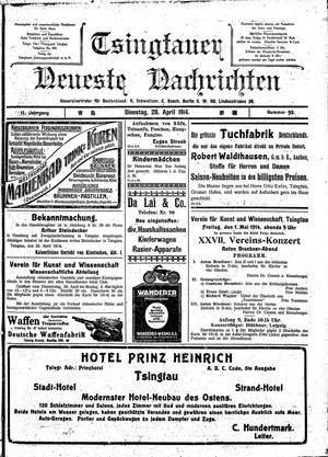 Tsingtauer neueste Nachrichten vom 28.04.1914