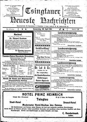 Tsingtauer neueste Nachrichten on Apr 30, 1914