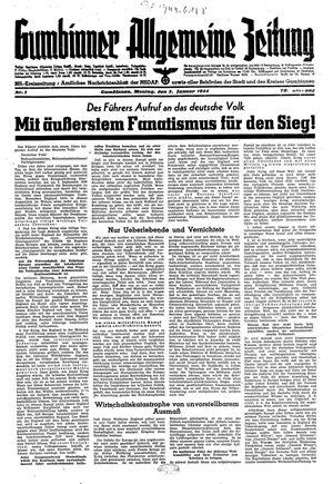 Gumbinner allgemeine Zeitung vom 03.01.1944