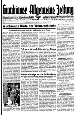 Gumbinner allgemeine Zeitung vom 10.01.1944