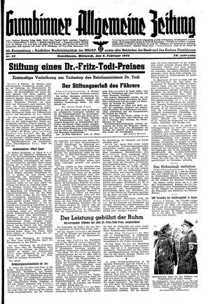 Gumbinner allgemeine Zeitung vom 09.02.1944