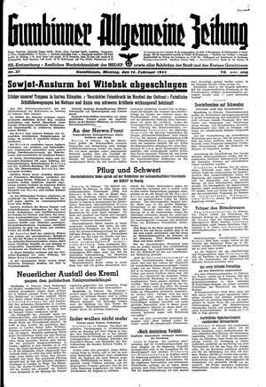 Gumbinner allgemeine Zeitung vom 14.02.1944