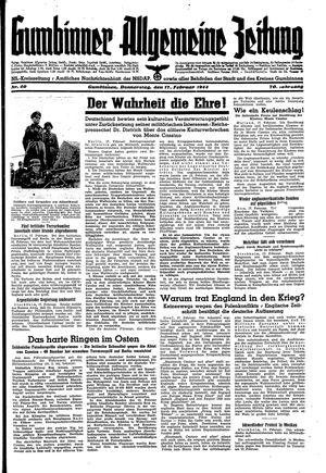 Gumbinner allgemeine Zeitung vom 17.02.1944