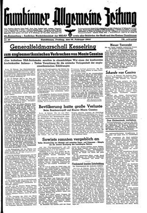 Gumbinner allgemeine Zeitung vom 18.02.1944