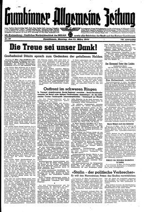 Gumbinner allgemeine Zeitung vom 13.03.1944
