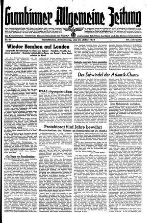 Gumbinner allgemeine Zeitung vom 16.03.1944