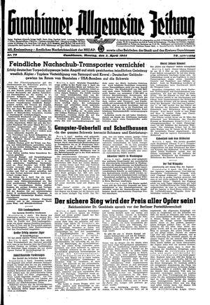 Gumbinner allgemeine Zeitung vom 03.04.1944