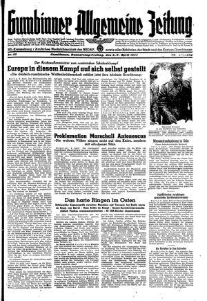 Gumbinner allgemeine Zeitung vom 06.04.1944