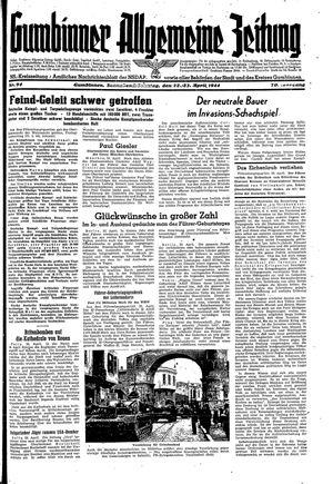 Gumbinner allgemeine Zeitung vom 22.04.1944