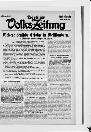 Berliner Volkszeitung vom 26.04.1915