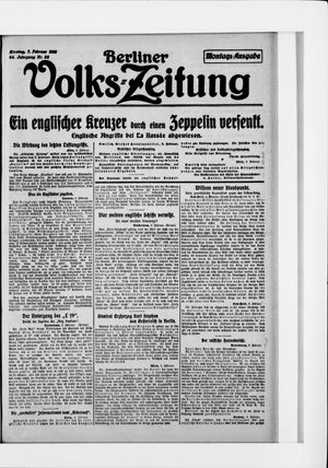 Berliner Volkszeitung vom 07.02.1916