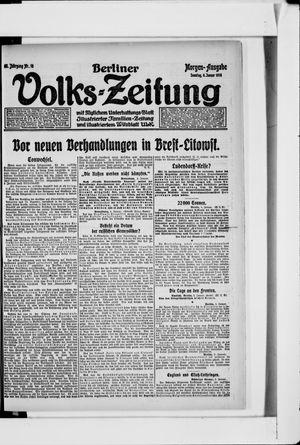 Berliner Volkszeitung vom 06.01.1918