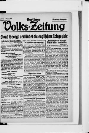 Berliner Volkszeitung vom 07.01.1918