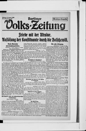 Berliner Volkszeitung vom 21.01.1918