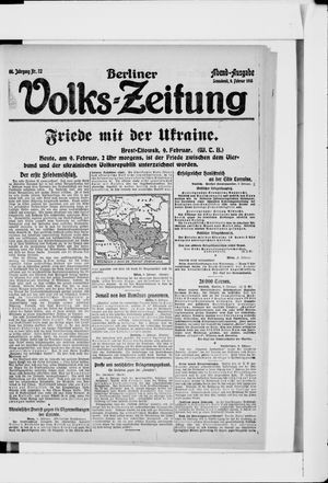 Berliner Volkszeitung vom 09.02.1918