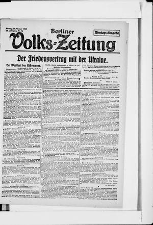 Berliner Volkszeitung vom 11.02.1918