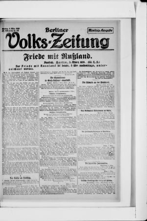 Berliner Volkszeitung vom 04.03.1918