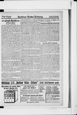 Berliner Volkszeitung vom 25.04.1918