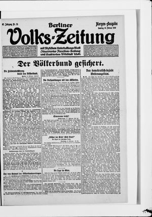 Berliner Volkszeitung vom 16.02.1919