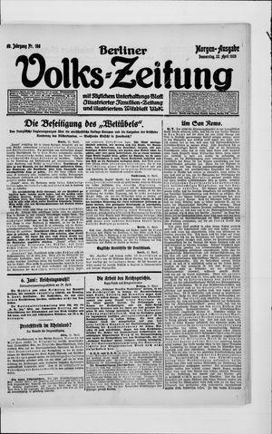 Berliner Volkszeitung vom 22.04.1920