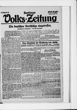 Berliner Volkszeitung vom 25.04.1921