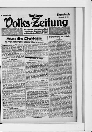 Berliner Volkszeitung vom 25.05.1921