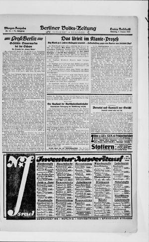 Berliner Volkszeitung vom 07.01.1923