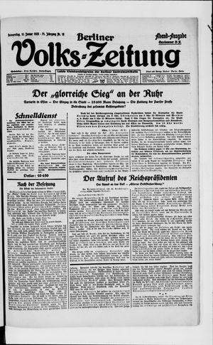 Berliner Volkszeitung vom 11.01.1923