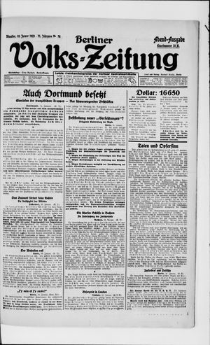 Berliner Volkszeitung vom 16.01.1923