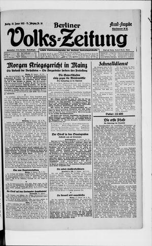 Berliner Volkszeitung on Jan 22, 1923