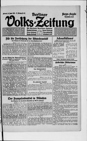 Berliner Volkszeitung on Jan 24, 1923
