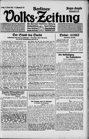 Berliner Volkszeitung vom 02.02.1923