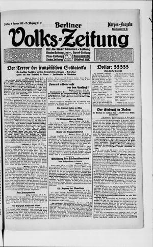 Berliner Volkszeitung vom 09.02.1923