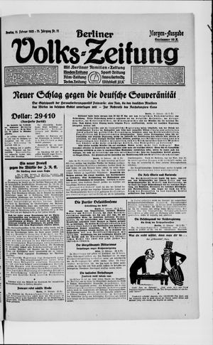 Berliner Volkszeitung vom 11.02.1923