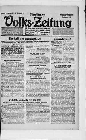 Berliner Volkszeitung vom 21.02.1923