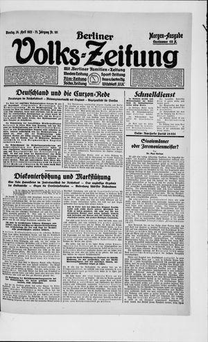 Berliner Volkszeitung vom 24.04.1923