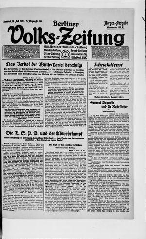 Berliner Volkszeitung vom 28.04.1923