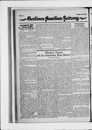 Berliner Volkszeitung vom 20.04.1926