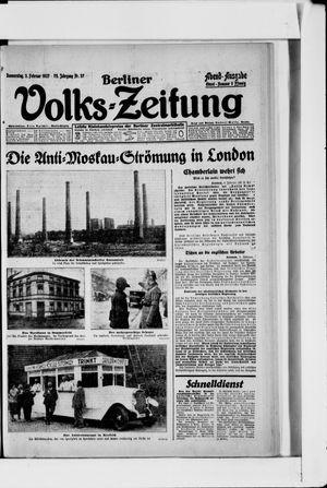 Berliner Volkszeitung vom 03.02.1927