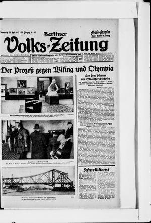 Berliner Volkszeitung vom 21.04.1927