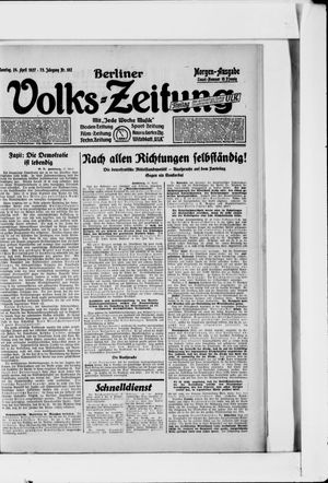 Berliner Volkszeitung vom 24.04.1927