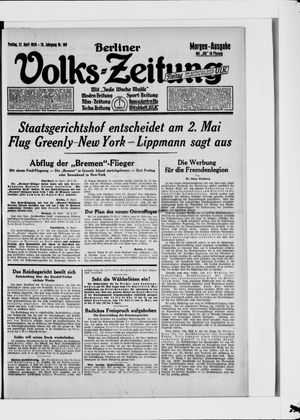 Berliner Volkszeitung vom 27.04.1928